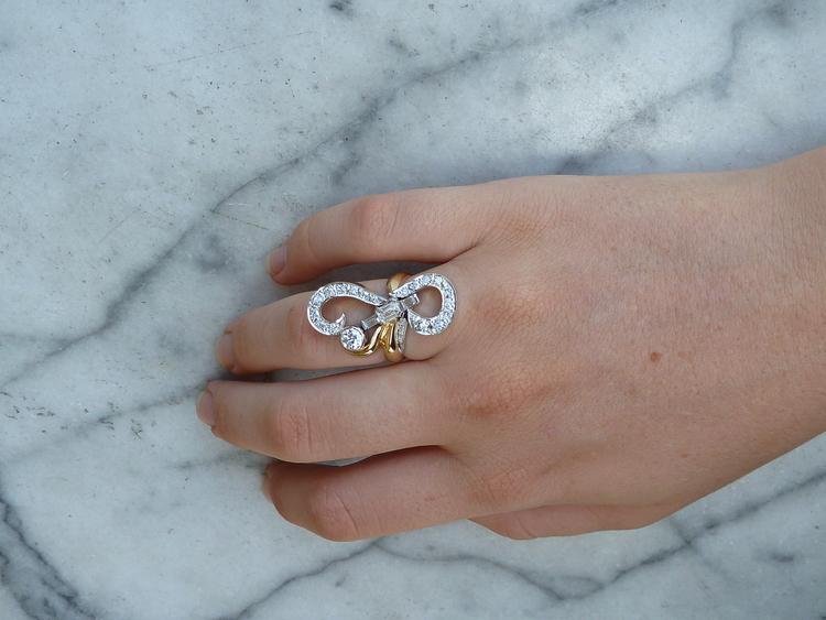 Custom Designed Remodelled Art Nouveau Engagement Ring 10 Ants.