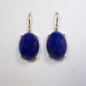 Lapis Lazuli Yellow Gold Four claw handmade couture earrings