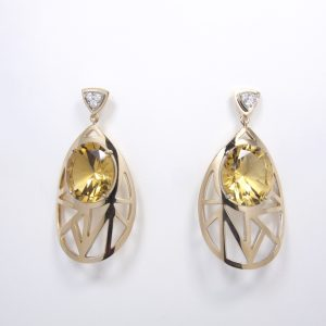 Citrine Diamond Art Deco Style Handmade Couture Earrings