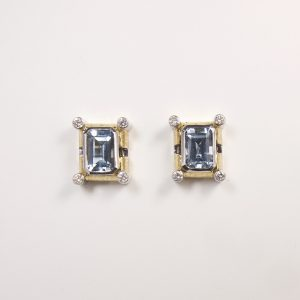 Aquamarine Diamond Textured Yellow White Gold Handmade Earrings