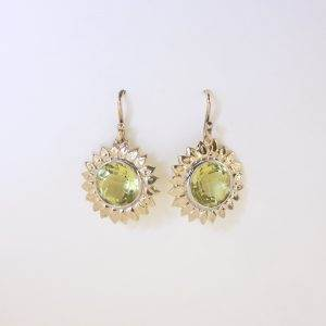 Custom cut Lemon Quartz Sunflower Yellow Gold Handmade Earrings